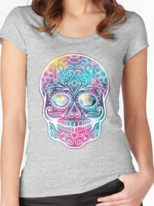 Watercolor Skull Women's Fitted Scoop T-Shirt
