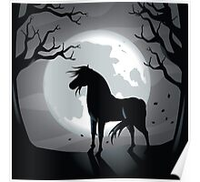 Black horse in the moonlight  Poster