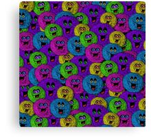 Friendly Fuzzles Cute Creatures Pattern Canvas Print