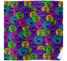 Friendly Fuzzles Cute Creatures Pattern Poster