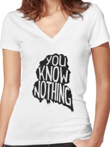 You know nothing, quote (black) Women's Fitted V-Neck T-Shirt