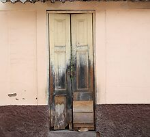 Weathered Yellow Wood Door by rhamm