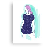 pink hair girl, fashion illustration Canvas Print