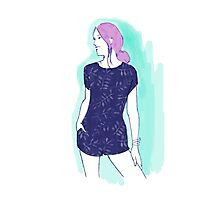 pink hair girl, fashion illustration Photographic Print