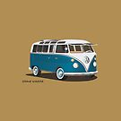 Hippie 21 Window VW Bus Samba Tuerkis by Frank Schuster