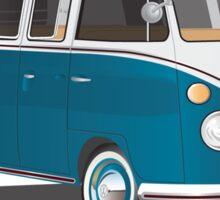Hippie 21 Window VW Bus Samba Tuerkis Sticker