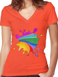 Rainbow Colors Abstract Fantasy Women's Fitted V-Neck T-Shirt