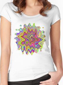 Psychedelic Glowing Colors Pattern Women's Fitted Scoop T-Shirt