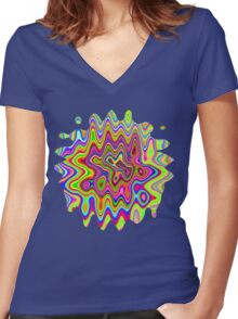 Psychedelic Glowing Colors Pattern Women's Fitted V-Neck T-Shirt
