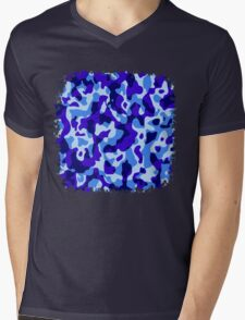 Blue Camouflage Army Military Pattern Mens V-Neck T-Shirt