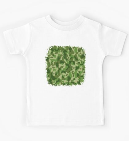 Green Camouflage Army Military Pattern Kids Tee