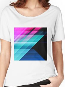 Bright Pink Teal and Blue Geometric Pattern Women's Relaxed Fit T-Shirt