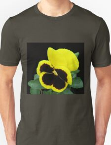 Lonesome - Yellow Blotch Pansy on Black Background Unisex T-Shirt