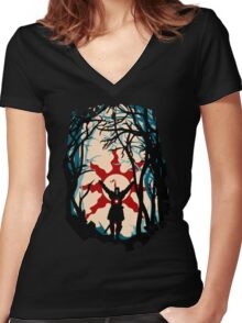 Forest Sun Women's Fitted V-Neck T-Shirt