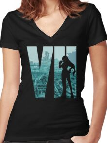 FF7 - Tifa - Color Women's Fitted V-Neck T-Shirt