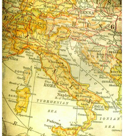 Vintage Map of Italy Sticker