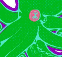 Green Octopus on Purple Sticker