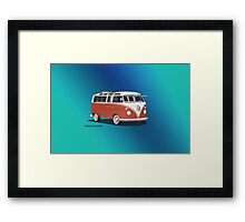 21 Window VW Bus Samba Bus Red White w Blue Backgr Framed Print