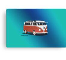 21 Window VW Bus Samba Bus Red White w Blue Backgr Canvas Print