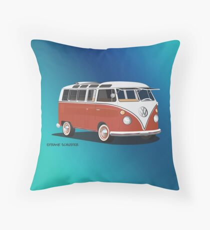 21 Window VW Bus Samba Bus Red White w Blue Backgr Throw Pillow
