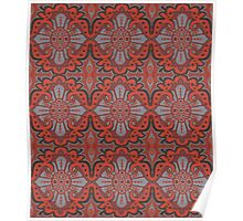 """""""Sliced pomegranat"""" organic forms,  bohemian pattern, terracotta and grey tones Poster"""