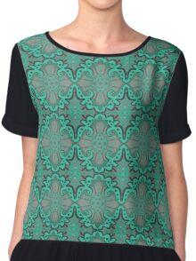 """Sliced pomegranat"" organic forms,  bohemian pattern, mint and grey tones Chiffon Top"