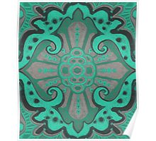 """""""Sliced pomegranat"""" organic forms,  bohemian pattern, mint and grey tones Poster"""