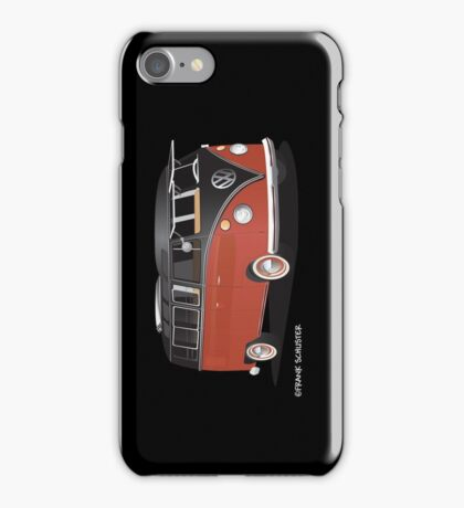 21 Window VW Bus Red Black iPhone Case/Skin