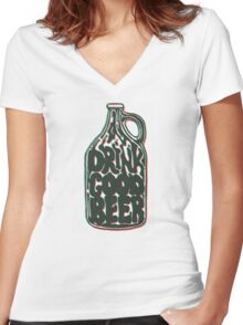 Drink Good Beer Women's Fitted V-Neck T-Shirt