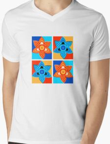 Daffodils retro style pattern Mens V-Neck T-Shirt