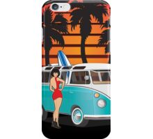 21 Window VW Bus Samba Bus with Palmes Surfboard and Girl XL iPhone Case/Skin