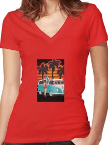 21 Window VW Bus Samba Bus with Palmes Surfboard and Girl XL Women's Fitted V-Neck T-Shirt