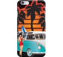 21 Window VW Bus with Palms and Girl Large iPhone Case/Skin