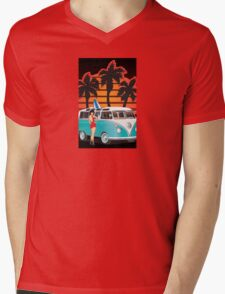 21 Window VW Bus with Palms and Girl Large Mens V-Neck T-Shirt