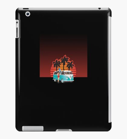 21 Window VW Bus with Palms and Girl iPad Case/Skin