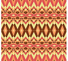 Geometric tribal style mosaic pattern in autumn colors Photographic Print