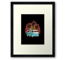 21 Window VW Bus Teal Samba Bus with Girl Framed Print