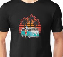 21 Window VW Bus Teal Samba Bus with Girl Unisex T-Shirt