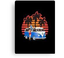 21 Window VW Bus Blue with Girl Canvas Print