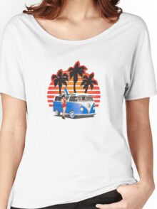21 Window VW Bus Blue with Girl Women's Relaxed Fit T-Shirt
