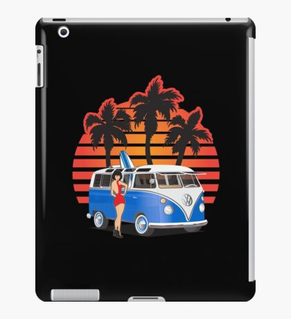 21 Window VW Bus Blue with Girl and Surfboard iPad Case/Skin