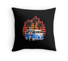21 Window VW Bus Blue with Girl Throw Pillow