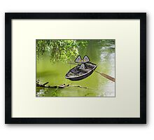 Cat Goes Fishing Framed Print