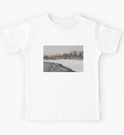The Snow Just Stopped - a Winter Beach on Lake Ontario Kids Tee