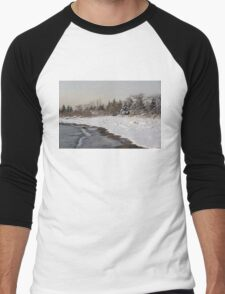 The Snow Just Stopped - a Winter Beach on Lake Ontario Men's Baseball ¾ T-Shirt
