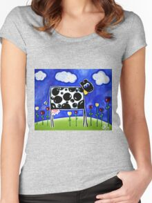 One Moo Cow Women's Fitted Scoop T-Shirt