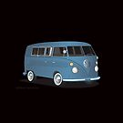 VW Bus Transporter with Windows Blue by Frank Schuster