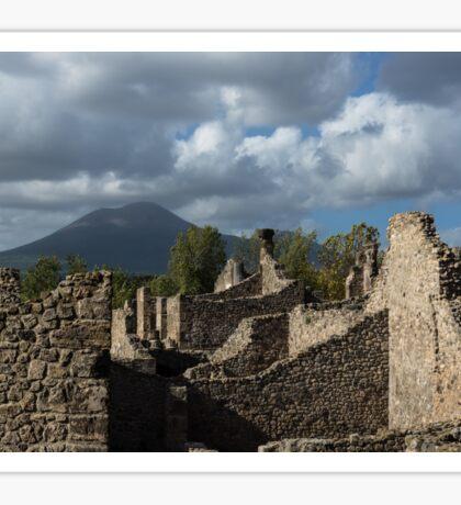 Mount Vesuvius Volcano, Towering Over the Pompeii Ruins Sticker