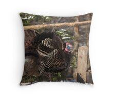 Turkeys feeding on corn Throw Pillow