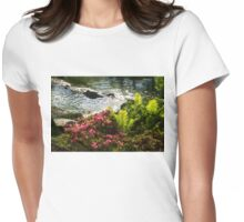 Wild Rhododendrons and Ferns by the Silver River Womens Fitted T-Shirt